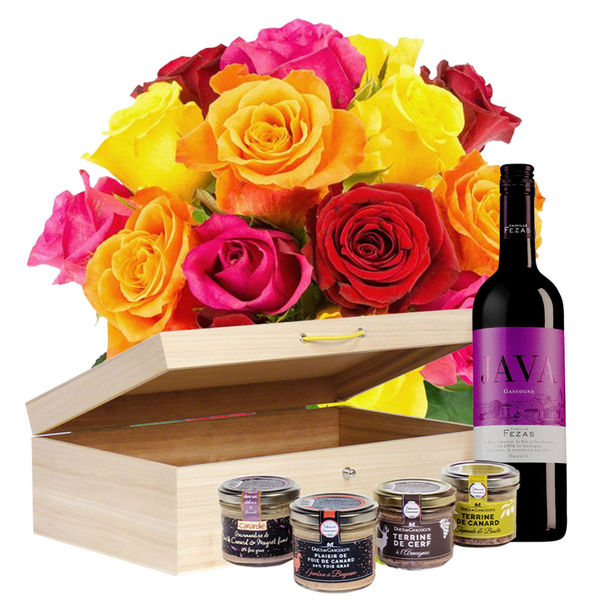 Cadeaux Gourmands 15 ROSES MULTICOLORES + COFFRET MOMENT PLAISIR