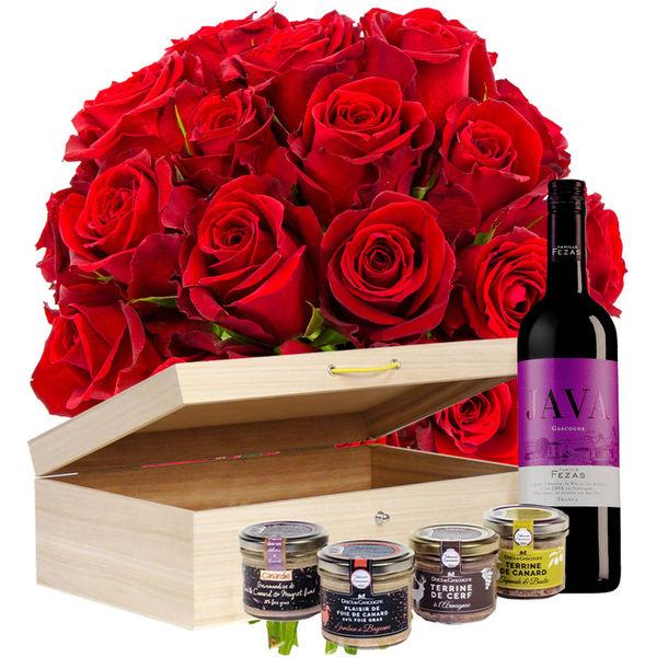 Cadeaux Gourmands 20 ROSES ROUGES + COFFRET MOMENT PLAISIR