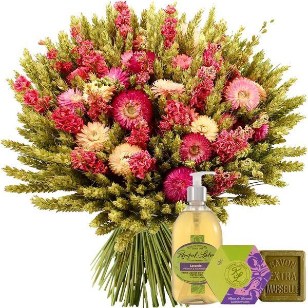 Cadeaux Bien-Etre BOUQUET DE FLEURS SECHEES ROSE + COFFRET LAVANDE
