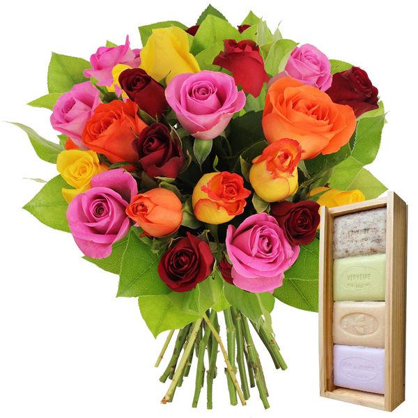 Cadeaux Bien-Etre 20 ROSES MULTICOLORES + PLUMIER 4 SAVONS