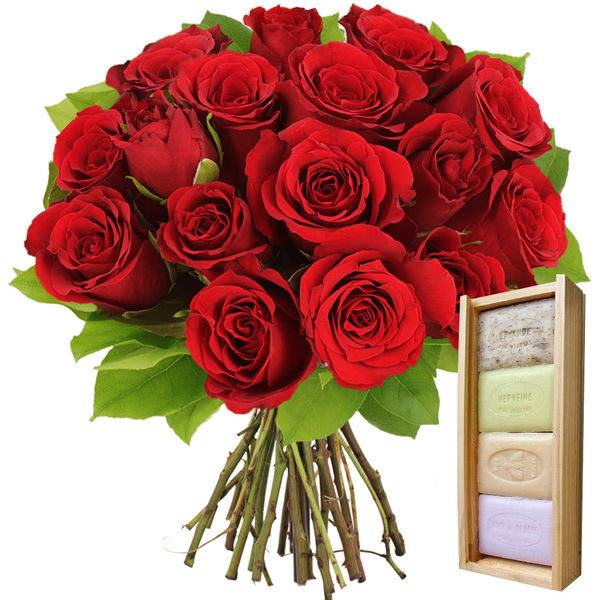 Cadeaux Bien-Etre 15 ROSES ROUGES + PLUMIER 4 SAVONS