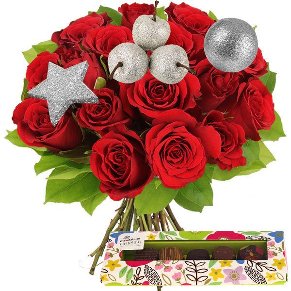 Cadeaux Gourmands 15 ROSES ROUGES + PICS ARGENT + CHOCOLATS