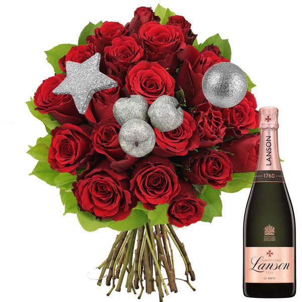 Cadeaux insolites 20 ROSES ROUGES + PICS ARGENT + LANSON ROS