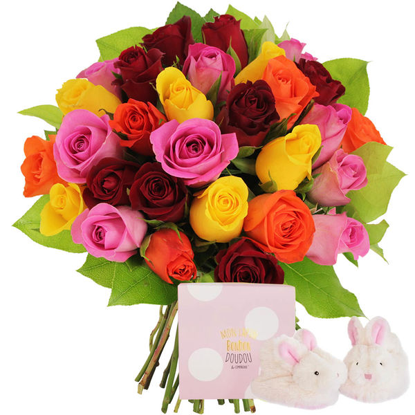 Cadeaux Naissance 30 ROSES MULTICOLORES + CHAUSSONS ROSES LAPIN