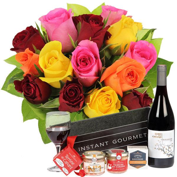 Cadeaux Gourmands 15 ROSES MIX + COFFRET INSTANT GOURMAND