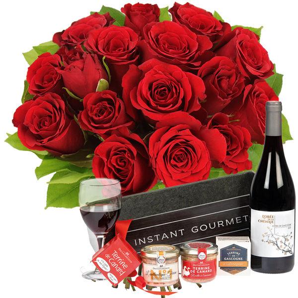 Cadeaux Gourmands 15 ROSES ROUGES + COFFRET INSTANT GOURMAND