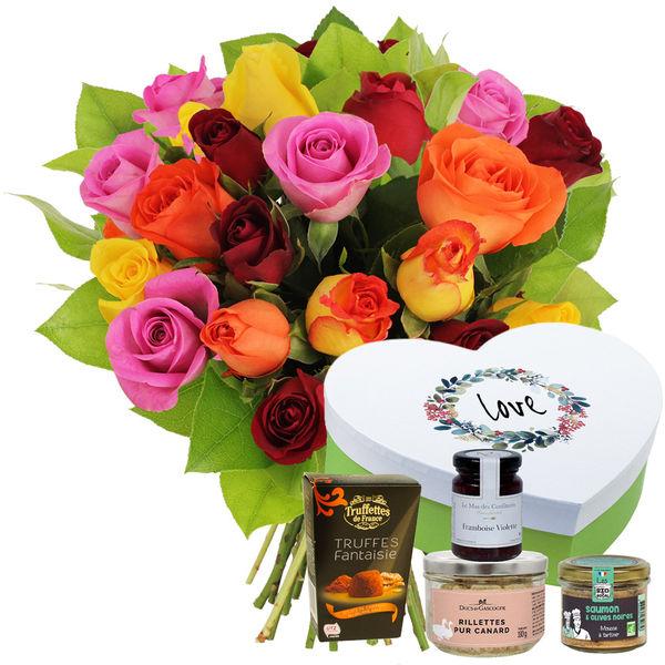 Cadeaux Gourmands 20 ROSES MIX + COFFRET LOVE