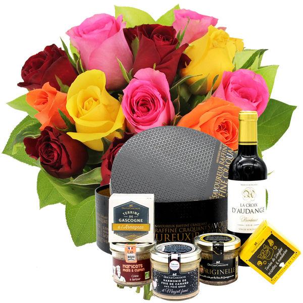 Cadeaux Gourmands 15 ROSES MIX + COFFRET DU MOMENT