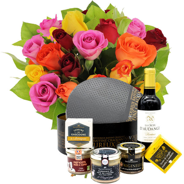 Cadeaux Gourmands 20 ROSES MIX + COFFRET DU MOMENT