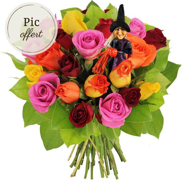Cadeaux insolites 15 ROSES MIX + PIC SORCIERE OFFERT