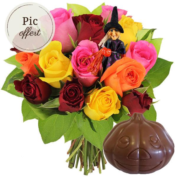 Cadeaux insolites 15 ROSES MIX + PIC SORCIERE OFFERT + CITROUILLE EN