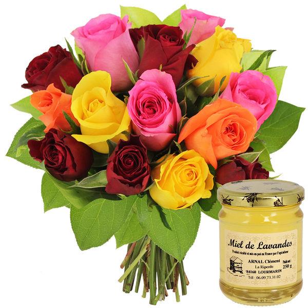 Cadeaux Gourmands 15 ROSES MIX + MIEL DES LAVANDES