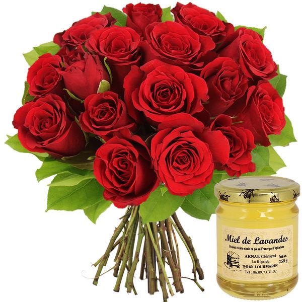 Cadeaux Gourmands 15 ROSES ROUGES + MIEL DE LAVANDES