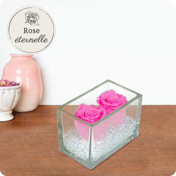 Les Roses 2 ROSES ETERNELLES ROSE + POT EN VERRE
