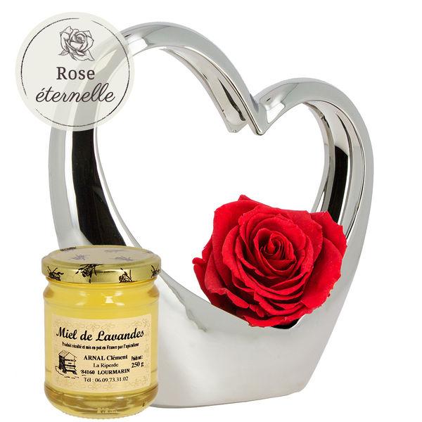 Cadeaux Gourmands COEUR ARGENT EN CERAMIQUE ET SA ROSE ROUGE + MIEL