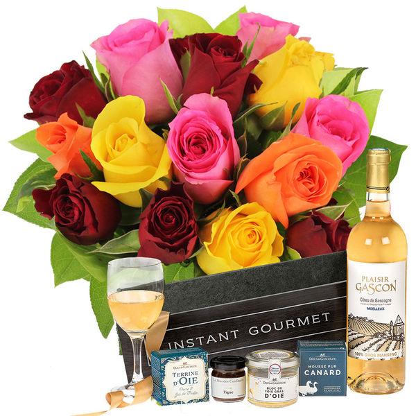 Cadeaux Gourmands 15 ROSES MIX + COFFRET EPICURE