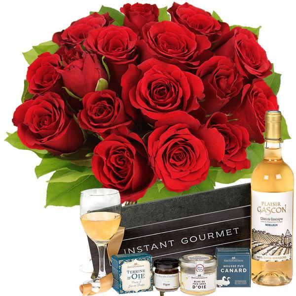 Cadeaux Gourmands 15 ROSES ROUGES + COFFRET EPICURE