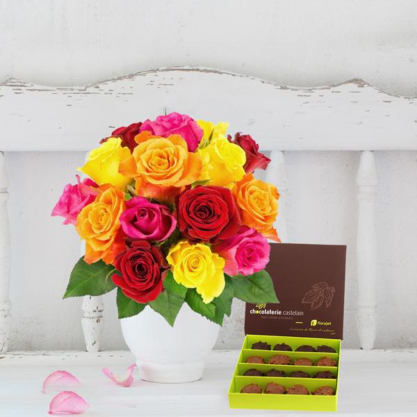 Cadeaux Gourmands 15 ROSES MULTICOLORES + ROCHERS AU PRALINE