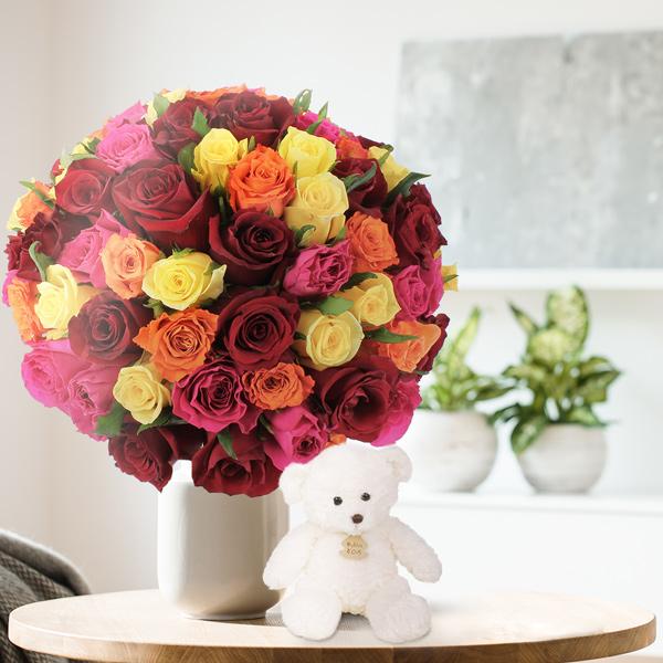 Bouquet de roses 80 ROSES MULTICOLORES + OURSON BLANC