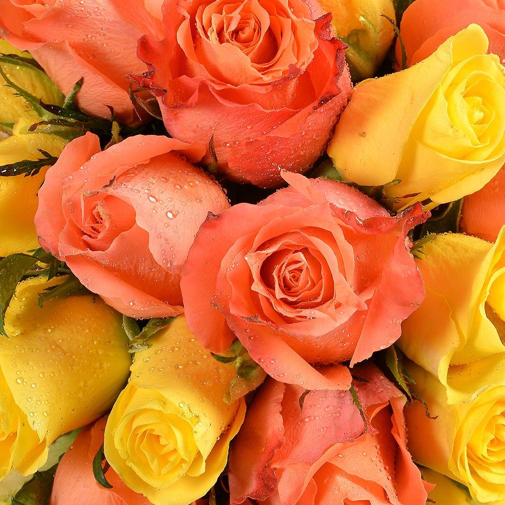 Bouquet de roses 30 ROSES JAUNES ET ORANGE