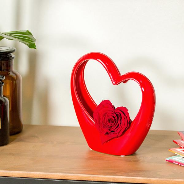 Bouquet de roses MINI COEUR ROUGE + ROSE STABILISEE ROSE