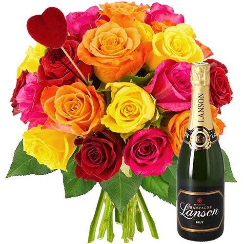 Cadeaux Gourmands 20 ROSES MULTICOLORES + PIQUE COEUR + CHAMPAGNE
