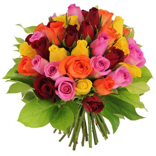 Bouquet de roses 40 ROSES MULTICOLORES