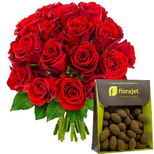 Cadeaux Gourmands 20 ROSES ROUGES + AMANDES