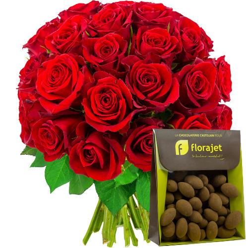 Cadeaux Gourmands 30 ROSES ROUGES + AMANDES