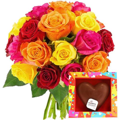 Cadeaux Gourmands 20 ROSES MULTICOLORES + COEUR EN CHOCOLAT