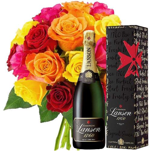 Cadeaux Gourmands 20 ROSES + CHAMPAGNE LANSON BRUT 75CL