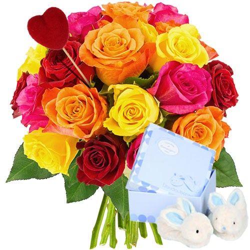 Bouquet De Roses 20roses Multi Pique Coeur Chausson Bleu Lapin