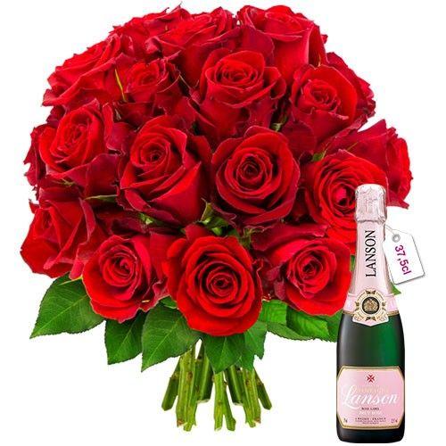 Cadeaux Gourmands 20 ROSES ROUGES + 1/2 LANSON