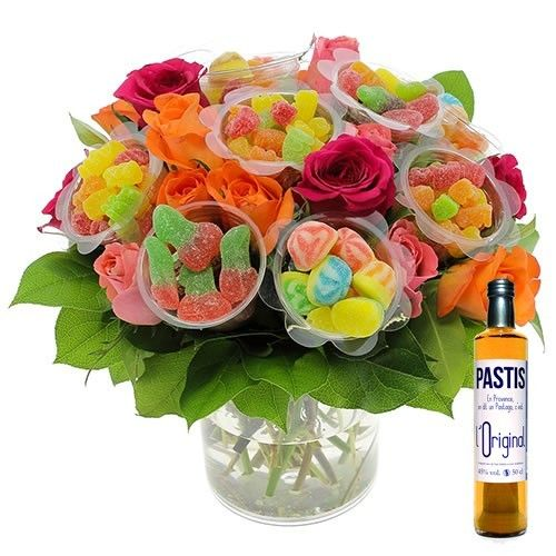 cadeaux gourmands bouquet bonbons xl pastis or livraison express florajet. Black Bedroom Furniture Sets. Home Design Ideas