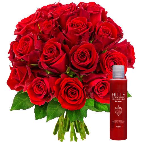 Cadeaux Sexy 20 ROSES ROUGES + HUILE DE MASSAGE