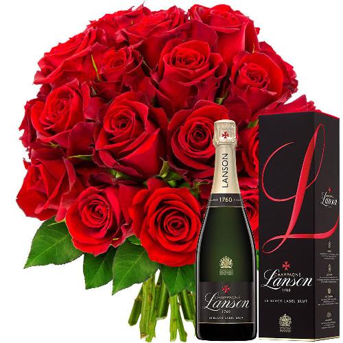 Cadeaux Gourmands 20 ROSES ROUGES + CHAMPAGNE LANSON BRUT 75CL