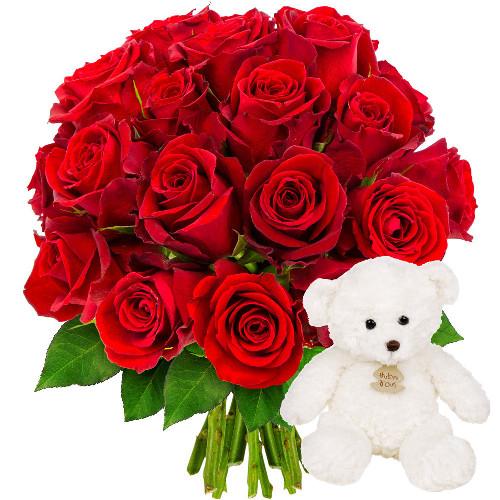 Cadeaux Naissance 20 ROSES ROUGES + OURSON BLANC