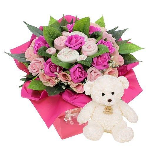 Cadeaux Naissance BOUQUET NAISSANCE ROSE + OURSON BLANC