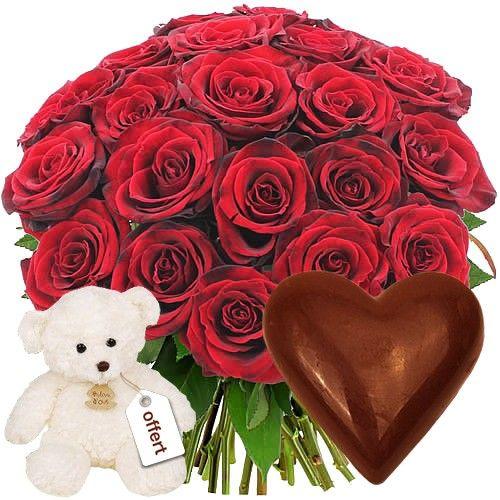 Bouquet De Roses 20roses Rouges Coeur Choco Ours Blanc Livraison