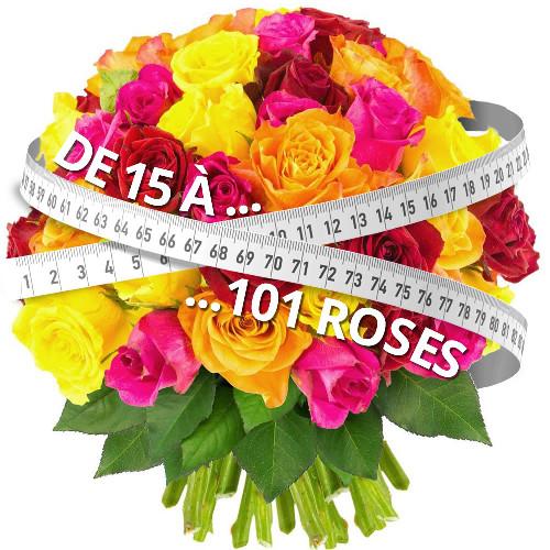 Bouquet de roses 15 ROSES MULTICOLORES
