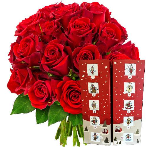 Cadeaux Gourmands 20 ROSES ROUGES + CALENDRIER DE L'AVENT