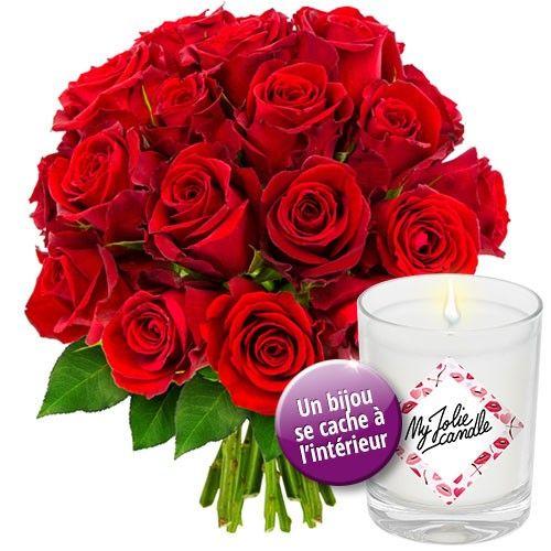 Cadeaux insolites 20 ROSES ROUGES + BOUGIE-BIJOU