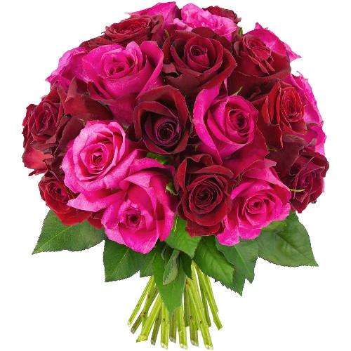 Bouquet de roses 30 ROSES FUCHSIAS ET ROUGES