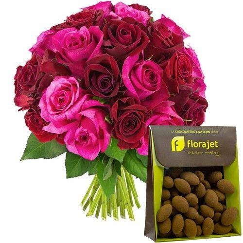 Cadeaux Gourmands 30 ROSES FUCHSIAS ET ROUGES + AMANDES
