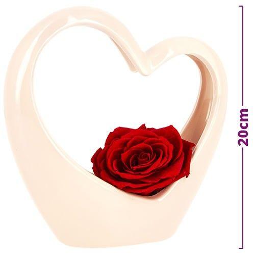 Bouquet de roses COEUR ROSE EN CERAMIQUE ET SA ROSE ROUGE