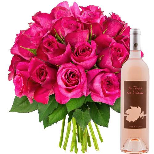 Cadeaux Gourmands 30 ROSES FUCHSIAS + VIN ROSE