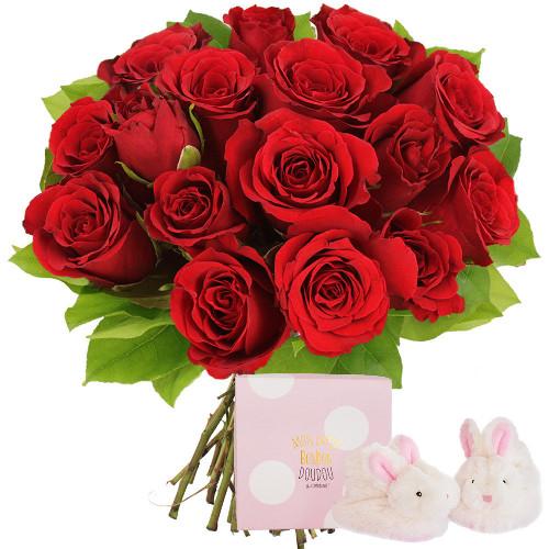 Cadeaux Naissance 15 ROSES ROUGES + COFFRET NAISSANCE ROSE