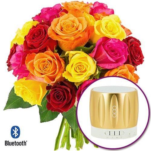 Cadeaux insolites 20 ROSES MULTICOLORES + ENCEINTE BLUETOOTH OR