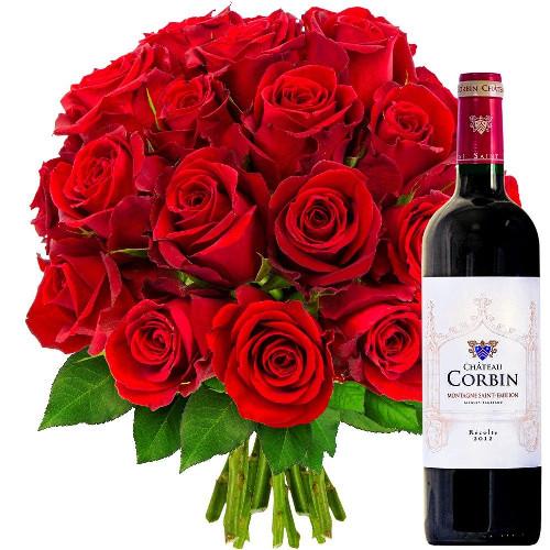 Cadeaux Gourmands 20 ROSES ROUGES + VIN SAINT EMILION