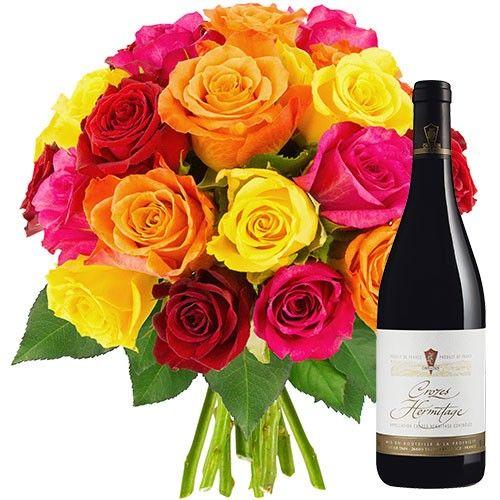 20 ROSES + VIN CROZES HERMITAGE 75CL